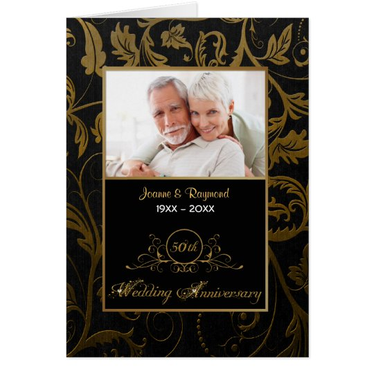 Black and Gold Damask 50th Wedding Anniversary Card