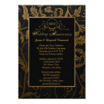 Black and Gold Damask 50th Wedding Anniversary Custom Announcement