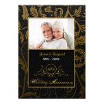 Black and Gold Damask 50th Wedding Anniversary Custom Invites