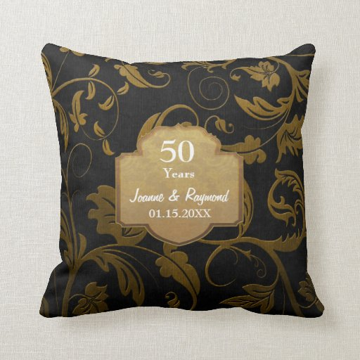 Black and Gold Damask 50th Wedding Anniversary Pillow