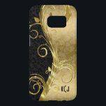"Black And Gold Damask And Gold Swirls Samsung Galaxy S7 Case<br><div class=""desc"">Monogrammed black and gold floral damasks with metallic gold floral swirls.</div>"