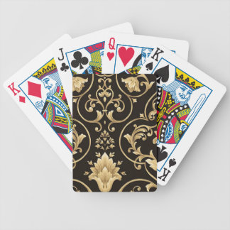 BLACK AND GOLD DAMASK BICYCLE PLAYING CARDS