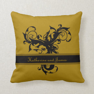 Black and gold damask custom gift throw pillow