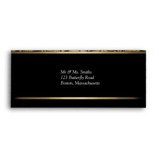 Black and Gold Damask Envelope