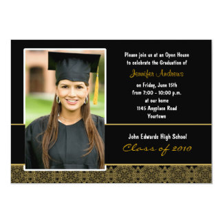 Black and Gold Damask Graduation Party Invitation