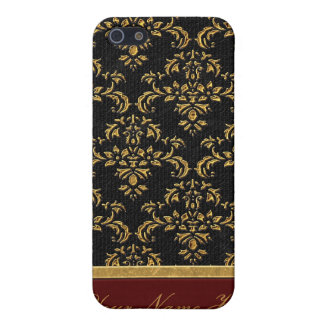 Black and Gold Damask  iPhone SE/5/5s Case
