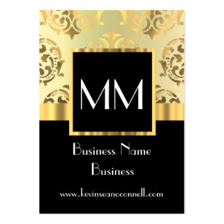 Black and gold damask monogram large business cards (Pack of 100)