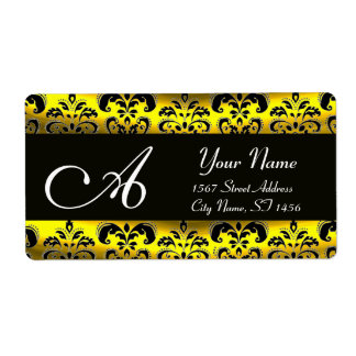 BLACK AND GOLD DAMASK  MONOGRAM PERSONALIZED SHIPPING LABEL