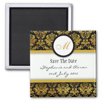Black and Gold Damask Monogram Save The Date Magnet