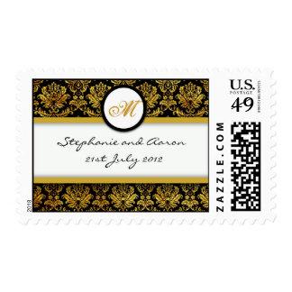 Black and Gold Damask Monogram Wedding Stamp