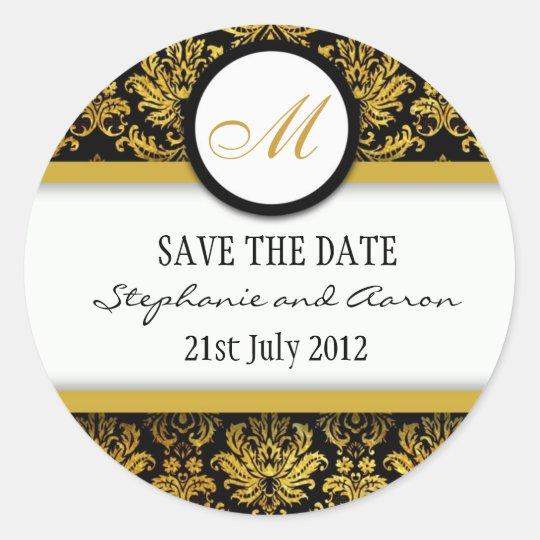 Black and Gold Damask Monogram Wedding Sticker
