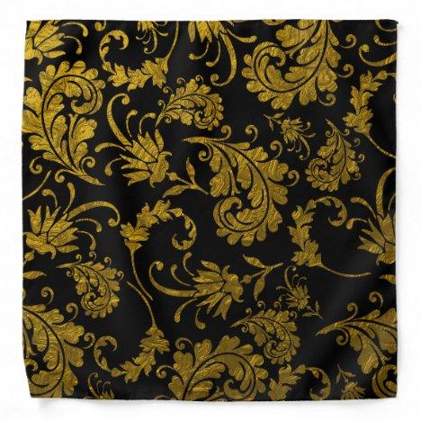 Black And Gold Damask Pattern Bandana