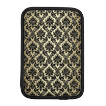 Black and Gold Damask Pattern iPad Mini Sleeve