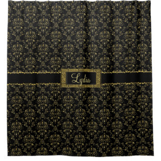 Black And Gold Damask Shower Curtains | Zazzle