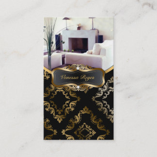 Black and Gold Damask Photo Business Card