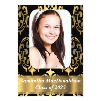 Black and gold damask photo graduation card