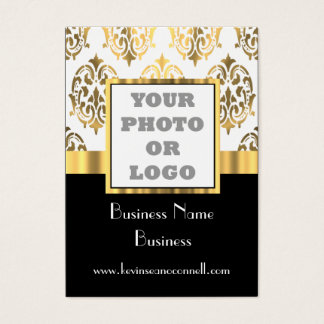 Black and gold damask photo logo business card