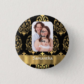 Black and gold damask pinback button