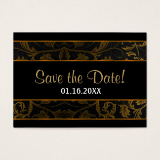 Black and Gold Damask -  Save The Date Business Card