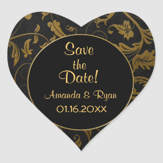 Black and Gold Damask - Save the Date - Customize Heart Sticker