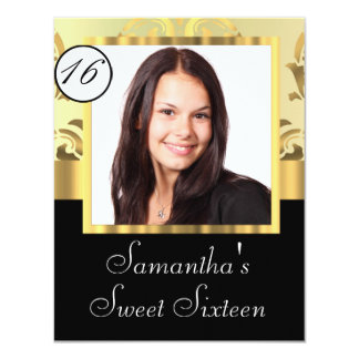 Black and gold damask sweet sixteen card