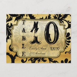 Black and Gold Damask Swirls Table Number