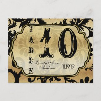 Black and Gold Damask Swirls Table Number Post Card