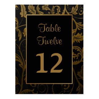 Black and Gold Damask Table Seating Number Postcard