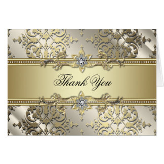 Black and Gold Damask Thank You Cards