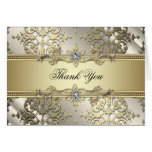 Black and Gold Damask Thank You Cards Note Card