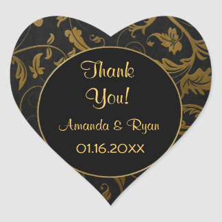 Black and Gold Damask - Thank You - Customize Heart Sticker
