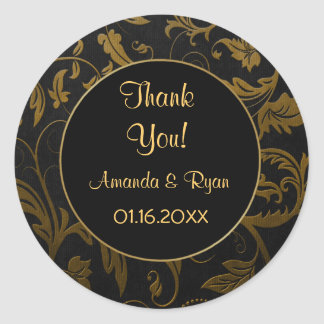 Black and Gold Damask - Thank You - Round Round Sticker