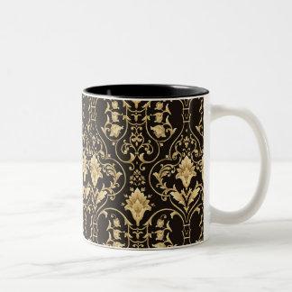 BLACK AND GOLD DAMASK Two-Tone COFFEE MUG