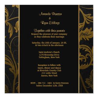 Black and Gold Damask Wedding Invitation - Square