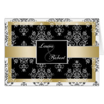 Black And Gold Damask Wedding Invitations