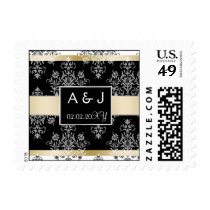 Black And Gold Damask Wedding Invitations Postage