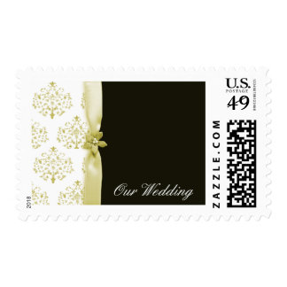 Black and gold damask  wedding postage