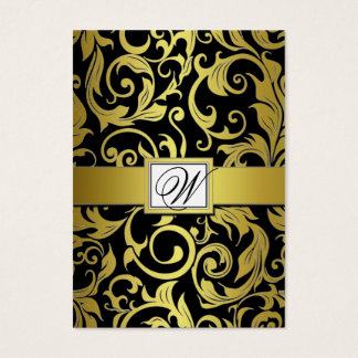 Black and Gold Damask Wedding Reception Cards