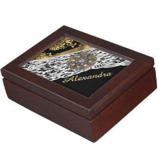 Black and gold damask white lace and crystal memory box