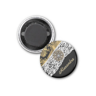 Black and gold damask white lace crystal 1 inch round magnet