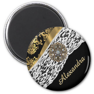 Black and gold damask white lace crystal 2 inch round magnet