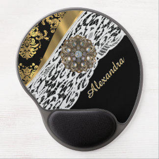 Black and gold damask white lace crystal gel mouse pad