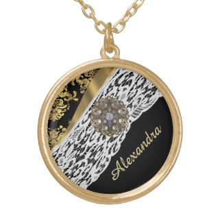 Black and gold damask white lace crystal gold plated necklace