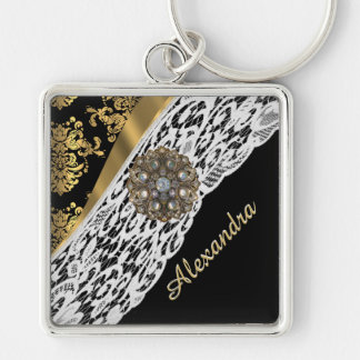 Black and gold damask white lace crystal keychain