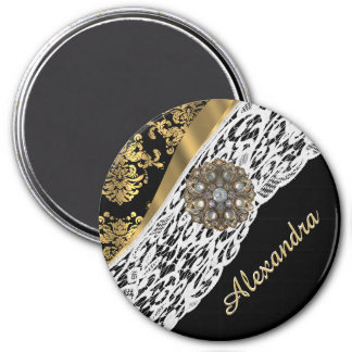 Black and gold damask white lace crystal 3 inch round magnet