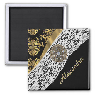 Black and gold damask white lace crystal 2 inch square magnet