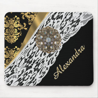 Black and gold damask white lace crystal mouse pad