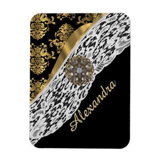 Black and gold damask white lace crystal rectangular photo magnet