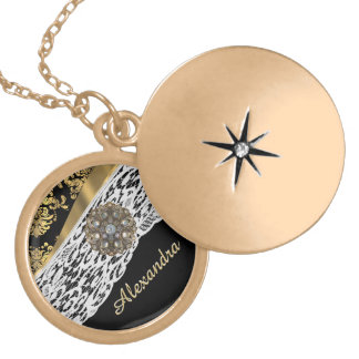 Black and gold damask white lace crystal round locket necklace