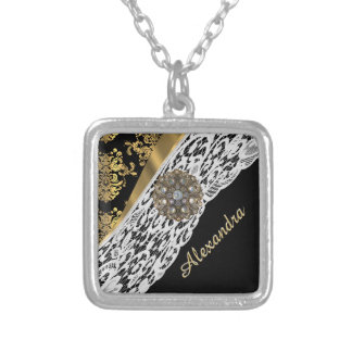 Black and gold damask white lace crystal silver plated necklace